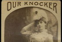 "1880's Photographic Cigar Cards / This board contains vintage albumen photographic cigar cards from ""W. Duke, Sons & Company"" and ""Our Knocker."" To set context, this is just before photos became more common with the advent of Kodak in 1888. These cards must have been quite the novelty. They contain ladies showing bare arms and tights (quite risque!) as well a popular figures of the day."
