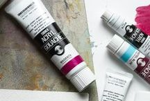 Gouache and Egg Tempera / Gouache paint is opaque watercolour and acrylic gouache is very fluid acrylic colour. Egg tempera is a semi-opaque water soluble and permanent painting medium.