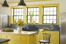 Yellow Interiors / Yellows range from the palest of primrose through the tangerines to the vivid ochres. Yellow is not a shy colour and can be tricky to use as the colour intensifies when it is used with other colours or in large quantities.