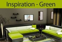Green Interiors / Green is natures favourite colour, so introducing it into your home decor will welcome the outside inside. Earthy greens are very soothing, lime and bright greens are highly versatile and very refreshing but muddy greens such as olive green can be rather dismal and depressing.