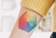 Tattoos: Geometric / Colourful geometic tattoo designs and inspiration.