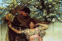 Alma Tadema Art / Sir Lawrence Alma-Tadema, (8 January 1836 – 25 June 1912) was a Dutch painter.  Born in Dronrijp, the Netherlands, and trained at the Royal Academy of Antwerp, Belgium, he settled in England in 1870 and spent the rest of his life there. A classical-subject painter, he became famous for his depictions of the luxury and decadence of the Roman Empire, with languorous figures set in fabulous marbled interiors or against a backdrop of dazzling blue Mediterranean Sea and sky.