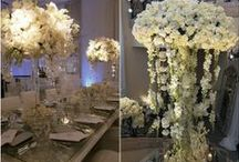 Wedding Colors: White on White / Combining shades of white  and ivory florals in wedding decor, florals, ceremony arches and exquisite rooms.