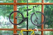 Bike Storage / Racks and bike storage ideas and accessories for all your bikes - perfect for garages, cars, apartments, or anywhere else you store your bikes.