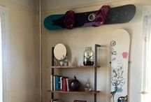Snowboard Home Storage and Design / Turn your snowboards into home art with the right storage and display racks. Snowboards make great decorations with a rack that shows off your deck. Design your home, office, or shop with something you love - snowboards.