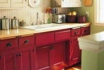 Red Kitchen Cupboards / by Nichole Andler
