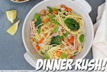 "Dinner Rush / ""Dinner Rush"" gets you from the express lane to the dinner table without breaking a sweat. Dinner just got simpler with inspiration that combines some everyday pantry items with only five (or six) ingredients. / by Cooking Channel"