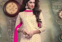 Eid special - Chanderi Cotton Embroidered Churidar Kameez from www.sareez.com