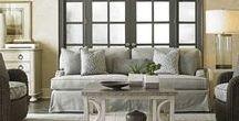 "Living Room Inspiration - Elegant Coastal Farmhouse / Ideas for Living Room Remodel in soft neutral palette of cream, white, taupe, grey, ""greige""."