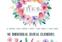 Floral Watercolor Wreaths and Illustrations / For the love of watercolor and floral patterns. Here is my collection of inspirational watercolor, hand drawns, wreaths and banners for cards, stationery, prints, marketing, ads, and home decor.