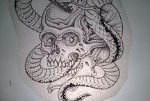 Skull and snake / Tattoo flash