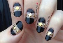 Studs and Rhinestones / Nail art with studs, rhinestones, and other 3D items