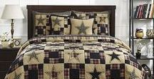 Revere Quilted Collection / Beautiful black, red and tan patchwork star quilted collection! Shop now at BethsCountryPrimitiveHomeDecor.com!!! For the BEST prices for country primitive quilted bedding and accessories.