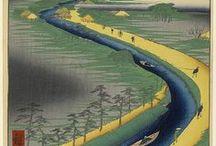 Utagawa Hiroshige / Ιάπωνας καλλιτέχνης της τέχνης ουκίγιο-ε ,(1797 – 1858),    γνωστός και ως Άντο Χιροσίτζε. Ουκίγιο-ε, τεχνοτροπία της ιαπωνικής χαρακτικής και ζωγραφικής. Η ονομασία σημαίνει κυριολεκτικά «εικόνες του περιπλανώμενου κόσμου» και οφείλεται στη θεματολογία των έργων.