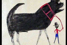 AAT :: Bill Traylor ~ 1854-1949 / Born a slave in 1854 in Benton, Alabama, where he remained through Emancipation until mid-1930's. In 1939 he started drawing on cardboard, in his 60's and met Charles Shannon, who offered him drawing materials and financial support. During the next four years, he produced between 1200 and 1500 drawings. Traylor is known for his intriguing use of pattern versus flat color, a sophisticated sense of space, and the simplified figures that give his work a startlingly modernist look. AMAZING!