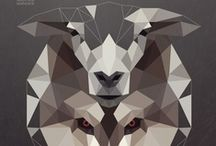 Facets / triangles, jaggedness, diamonds, and slight cubism.
