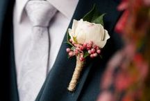 Groom Buttonhole Flowers and  boutonnieres / Lets put an end to single white roses as buttonholes! Get inspired by wonderful ways to tie in your wedding florals for the men in your bridal party