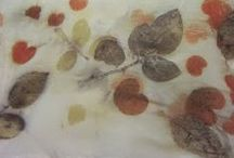 Eco print, fabric and paper