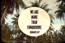 she over overcomes / Who shall separate us from the love of Christ? shall tribulation, or distress, or persecution, or famine, or nakedness, or peril, or sword? Nay, in all these things we are more than conquerors through him that loved us. / by k a t h y