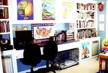 Homeschool Room Ideas / We homeschool and although we don't have a dedicated homeschool room (I wish!), these ideas help to organize all our homeschool paraphernalia.  / by AKA DESIGN