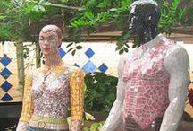 Mosaic Art on Mannequins / Mannequins are a great canvas for all kinds of mosaic projects. We sell used and distressed mannequins, dress forms and mannequins limbs for art projects like this at www.MannequinMadness.com  / by Mannequin Madness