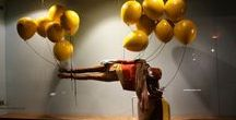 Balloons & Mannequins / Store Displays with Balloons & Mannequins as props. Balloons are a budget friendly and eye catching way to make creative window displays.