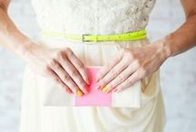 Color Crush - Neon and Neutral Wedding Ideas / We've paired our favorite neons with some great neutrals to create an awesome Neons and Neutrals Inspiration Board for you. Check out all the fun ideas to help you incorporate this trend into your big day.