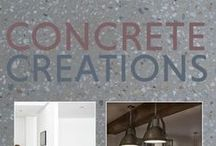 Concrete Creations / Looking at all the different ways concrete is used in home design. From kitchen worktops, complete bathrooms, floors to bedrooms.