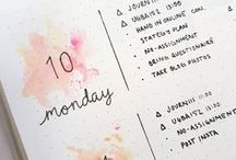 Bullet Journal / Bullet Journal printables - ideas for monthly and weekly spread layouts - inspiration for minimalist layout templates - bullet journal supplies: pens, washi tapes and notebooks - inspiration on how to start your bujo - ideas on how to design your own pages like daily log, exercise tracker, expense tracker, habit tracker, future log, goals page, gratitude log or calendar layout - banners and headers drawings and printables - tips on how to improve your handwriting and lettering