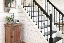 Entryway & Hallway Inspiration / Entryway decor ideas | Foyer ideas | Hallway solutions | Beautiful stairs and steps | Stair railing ideas | Painted stairways | Mud room ideas