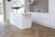 Houten visgraat vloeren / houten vloeren - visgraatvloeren