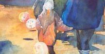Zwei Aquarelle mit Laternenkindern entstehen - Schritt für Schritt / Watercolors with children and lanterns created step by step #Aquarelle #Watercolors #Laternen #laterns #Laternelaufen #Lantern_Parade #Lantern_walk