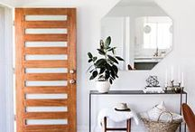 SPACES: Entries & hallways / Set the tone for your home with a fabulous entryway. Functional and fashionable is the way to go, with space for keys and flowers or foliage for a welcoming feel.