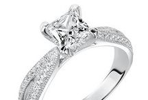 Cushion & Princess Cut Diamond Engagement Rings / cushion & princess shape / cut center stone, fancy cut diamond shape engagement rings,  #ArtCarvedBridal #ArtCarvedPinterest / by ArtCarved Bridal