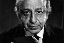 "Yousuf Karsh | Photographer / Yousuf Karsh, Dec. 23, 1908 – July 13, 2002 was a master of studio lights. One of his distinctive practices was lighting the subject's hands separately. He photographed many of the great and celebrated personalities of his generation. Throughout most of his career he used the 8×10 bellows Calumet (1997.0319) camera, made circa 1940 in Chicago. Journalist George Perry wrote in the British paper The Sunday Times that ""when the famous start thinking of immortality, they call for Karsh of Ottawa."""