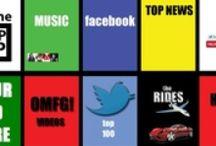PhonePOPUP Channels / Each logo represents each of PhonePOPUP.com's channels: (Music Videos, Facebook Top 100 Accounts, Top News, OMFG Videos, Twitter Top 100 Accounts & Rides Videos) / by Phonepopup