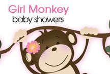 Girl Monkey Baby Shower / Featuring Girl Monkey Baby Shower items including invitations, thank you notes, baby shower games, monkey favors and decorations. Everything you need for a girl monkey party!