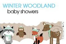 Winter Woodland / This series of Winter Woodland animals are perfect for a winter baby shower. Our original design features a deer, raccoon, fox, and owl wearing winter clothing. Background is a mix of snow and birch trees. This theme is available in pink (girls), mint green (any gender), and blue (boys.)