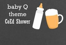Baby-Q CoEd Baby Shower / CoEd Baby Shower design featuring a beer glass and a baby bottle on a chalkboard background.