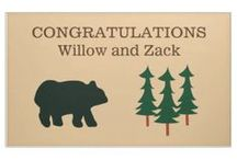 Rustic Bear Collection / Featuring a black bear with pine trees. These products are templates that you customize. Would be perfect for any rustic wedding, bridal shower, baby shower, or birthday. Also for family reunions and camping events.