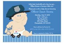 Baby Cop Baby Shower / Featuring our cute baby wearing a police hat and holding tiny handcuffs with a toy police car. This design works great for any police / law enforcement baby shower. Original © Art by Jess Design!
