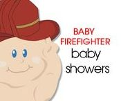 Fireman Baby Shower   Baby Firefighter / Having a firefighter theme baby shower? Look no further than our adorable Baby Fireman designs featuring our cute baby in a fire hat with a toy firetruck. This theme has many games, invitations, favors, and decorations. An Art by Jess Original!