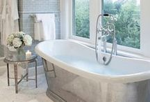 BATHROOM DESIGN / cool marble tiles, brass fixtures, claw tooth tubs and Egyptian cotton towels