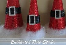 My Christmas Tree Cone Creations / Paper Mache Christmas Tree Cones creations by Enchanted Rose Studio.  If you see something you like or have questions, feel free to email me at enchantedrosestudio@yahoo.com