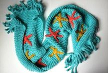 Scarffish Ocracoke Sunrise / Gorgeous aqua Scarffish with deep gold and coral starfish.  Super soft and completely washable.