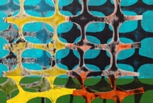 Mixed Media by Jeanne Williamson / Inspired by the patterns of orange construction fences