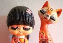 Vintage kitsch collections / Vintage kitsch collectables, cats, flamingos, kewpie dolls, woodland dolls,