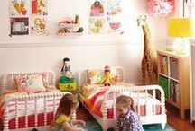 E&S Room Ideas / Kids room ideas, decorating, layout, colors, girls rooms, sharing rooms, two girls sharing a bedroom, bedroom decorating, two queen beds, two twin beds, two full size beds, decorating ideas for little girls