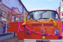 Yarn Shop Day at The Gilliangladrag Fluff-a-torium in Dorking / Yarn Shop Day at The Gilliangladrag Fluff-a-torium - featuring Deliliah the yarnbombed VW Campervan #yarnbomb #yarnshopday #woolshop #yarnshop #craftshop #VW #Campervan