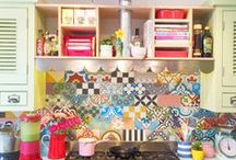 My Colourful Bohemian Kitchen / My colourful kitchen - it's like a tiled wipe-downable piece of me.